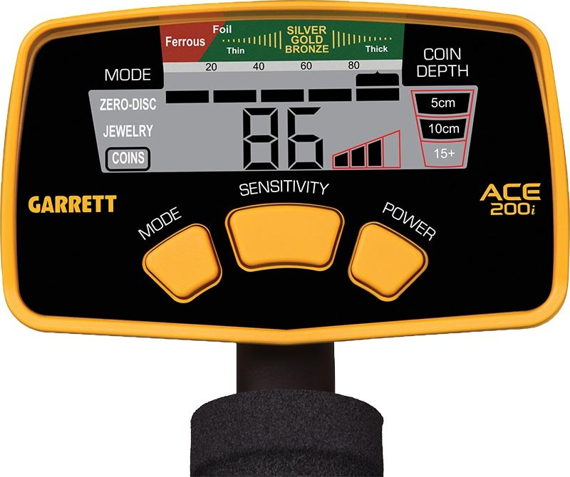 Pantalla detector de monedas y joyas Garrett Ace 200i